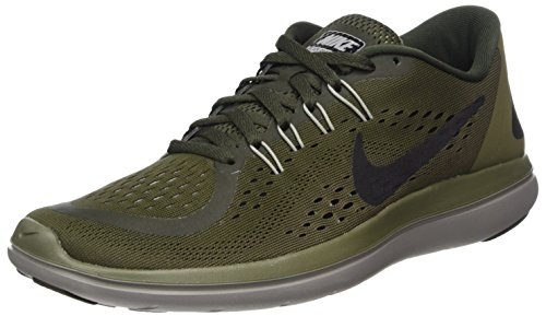 Nike Womens Flex 2017 Fabric Low Top Lace Up Running Sneaker, Green-M, Size 11.5