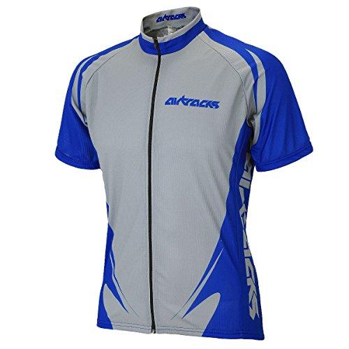 Maillot Marine respirant Funktions Airtracks Zip Gris Team Cyclisme Courtes bleu jersey full maillot Pro De Vélo Manches 44g5awq