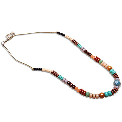 CASOTY Bohemian Multi-Colored Necklace (Beaded Silver Necklace)