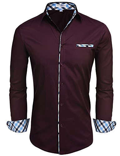 Hotouch Mens Slim Fit Casual Shirt Contrast Collar Dress Shirt Wine Red S