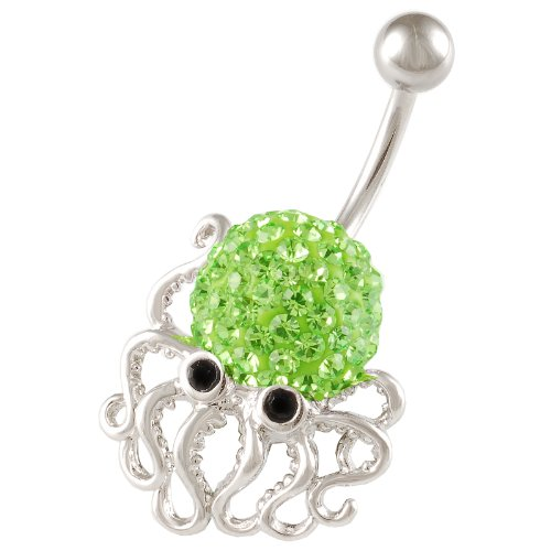 Green Peridot Belly Button Ring - 6