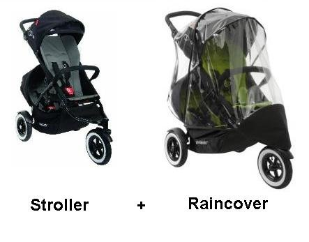 Phil and Teds Dot Stroller WITH Doubles Kit and Double Raincover (Flint) by phil&teds