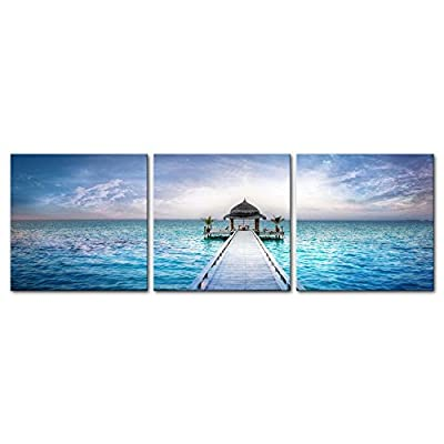 3 Pieces Modern Canvas Painting Wall Art The Picture For Home Decoration Awesome Dreamy Sunset Over The Jetty In The Indian Ocean Maldives Seascape House Print On Canvas Giclee Artwork For Wall Decor