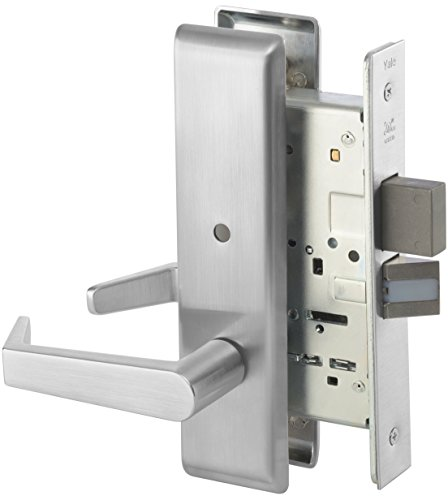 Yale 8802FL RH AUCN 626 8800 Mortise Lockset, Grade 1, Escutcheon Plate, Privacy with Deadbolt, RH Field Reversible, 626 Satin Chrome Finish