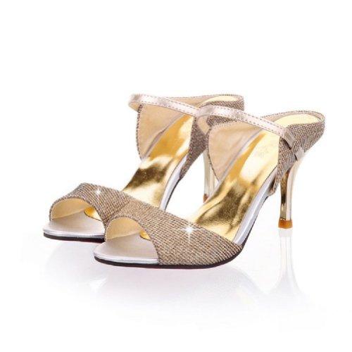 Carol Shoes Fashion Womens High Heel Peep Toe Slippers Sandals apricot I0Te4nb