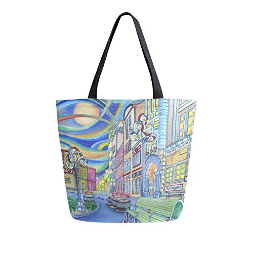 Womens Canvas Tote Bag Oil Painting Modern City Large Shopping Bag Shoulder Handbag