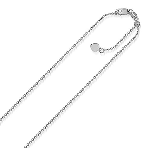 10K White Gold Singapore Style Adjustable Chain (1.1 mm) by Jewels By Lux