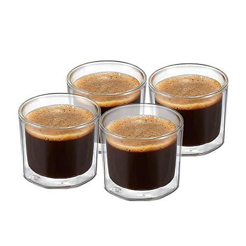 ZENS4oz Espresso Cup Set of 4, Octagon DoubleWalledLungo Shot Glass CupsSet For Whisky, Coffee or Tea