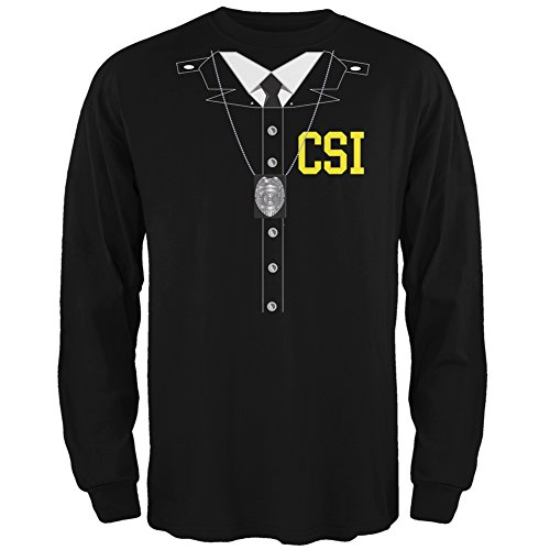 Old Glory Halloween Crime Scene Investigator Costume Black Adult Long Sleeve T-Shirt - X-Large ()