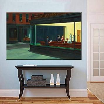 Five-Seller lienzo famosos cuadros Nighthawks calle tranquila por Edward Hopper arte de pared reproducción de arte impreso sobre lienzo de arte para la decoración del hogar, lona, 40 x 80 cm-frameless