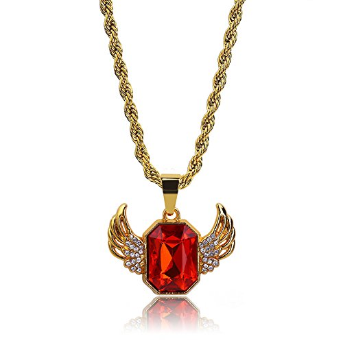 Gold Plated Iced Out Hip Hop the Last Supper ,Prayer Hand ,Angel,Wing Rubby Pendant Necklace with Rope Chain (Wing Rubby)