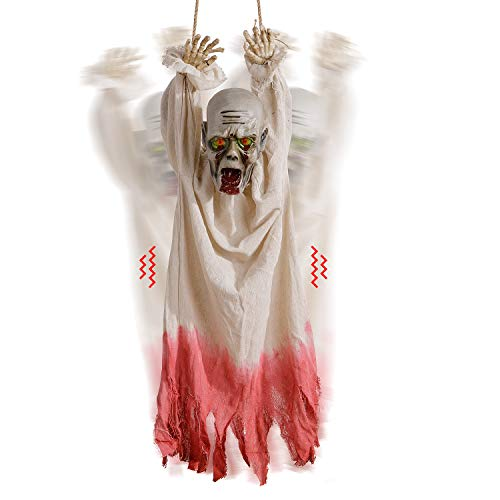 Alive Not Dead Halloween Party (Sler Halloween Decoration Hanging Corpse with Motion Sensor, Creepy Sound and Glowing Eyes, Animated Props Halloween Yard Decoration for Haunted House, Party, Indoor & Outdoor, Scary Zombie)