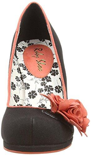 Ruby Shoo Eva Nero Floral Donna Hi Heels Court Scarpe