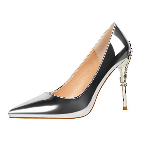 WeiPoot Toe Pumps Shoes High Closed Leather Silver Patent Women's Round Heels On Solid Pull CxRfTqC