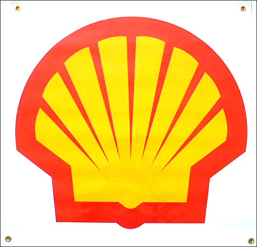 Shell Oil Gas Racing Banner 26 Inches Long By 26 Inches High Vinyl Garage Decor
