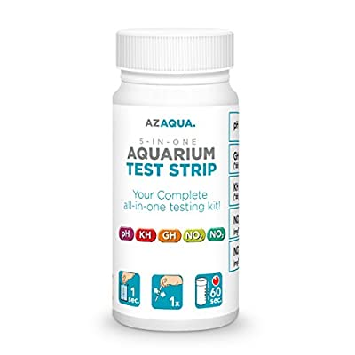 AZAQUA Accurate 5-in-1 Aquarium Test Strip, Supports Freshwater and Saltwater Fish Tank, 25 count from AZAQUA