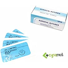 CynaMed Suture Thread with Needle (12-Pack) - Training Sutures Pkg. of 12 - 'Black' Threads - for Practicing Suturing Doctors, Medical Students, Veterinarians, and Nurses | 100% Satisfaction