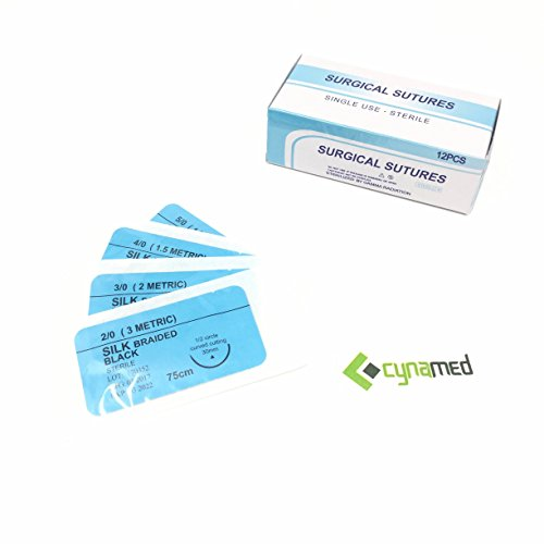 (CynaMed Suture Thread with Needle (12-Pack) - Training Sutures Pkg. of 12 - 'Black' Threads (12, 3/0, 25mm Blade, 1/2 Reverse Cutting))