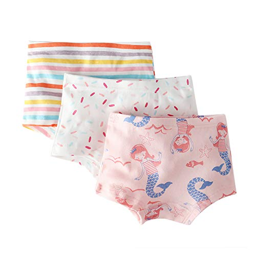 Little Girls' Mermaid Panties Polka Dot Boyshort Pink Undies Stripe Boxer Briefs for Kids ()