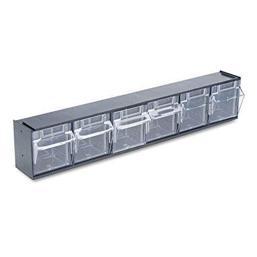 Deflecto 20604OPU Six-bin horizontal tilt bin storage system, 23-5/8w x 3-5/8d x 4-1/2h, black ()