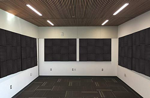 12 Pack - Easy Mount Adhesive-Backed Acoustic Sound Dampening Foam Panels 1'' x 12'' x 12'' by Baywater Products (Image #5)