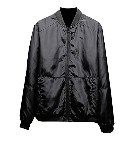 Baseball Mandarin Men's Satin Size Energy Plus Jacket Coats Black Collar Loose IRqI0w4
