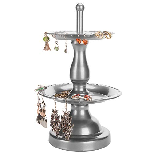 (MyGift 2-Tier Fountain Style Silver Earring Hanger & Ring Dish Jewelry Stand)