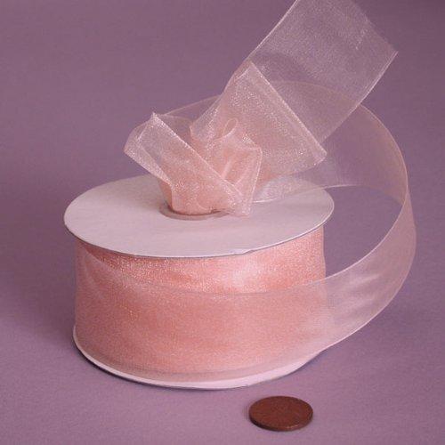 (Peach Shimmer Sheer Organza Ribbon, 1-1/2