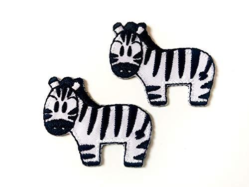 Tyga_Thai Brand Set 2 pcs. Mini Zebra Animal Cute Cartoon DIY Sew on Iron on Embroidered Applique Patch Store ()