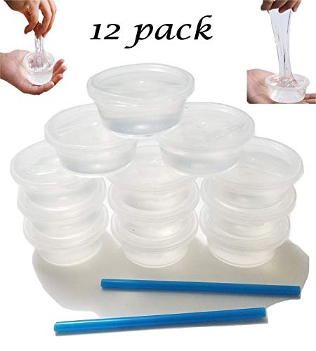 12 pack Crystal Clear Slime Mud Putty, Creative, DIY, Great Toy For Any Favor, Gift, Birthday. Non Sticky, Stress Relief, Super Soft & Squishy Slime Toy Kit for Kids and Adults - Transparent Clear