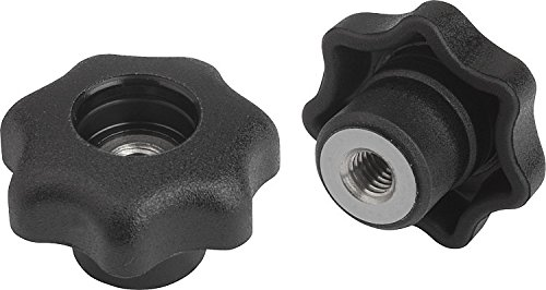 Kipp 06212-5A5 Black Thermoplastic/Stainless Steel Tapped through Hole Star Grip without Cap, 1/2-13'' Internal Thread, Style D, Inch, 63 mm Diameter (Pack of 10)