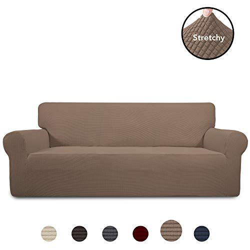PureFit Stretch Oversized Sofa Slipcover - Spandex Jacquard Non Slip Soft Couch Sofa Cover, Washable Furniture Protector with Non Skid Foam and Elastic Bottom for Kids (Oversized Sofa, Camel)