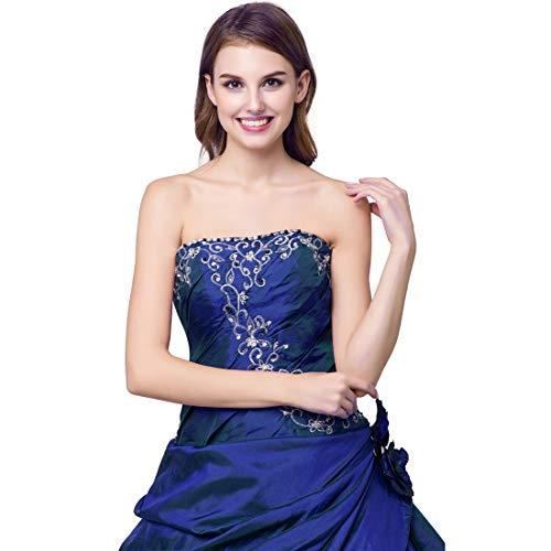 color Mujeres Espalda Size10 De Elástico Tubo Las Size Blue1 Vestido Tirantes Blue1 Jiuyizhe Informal Sin Floral TqYPP1