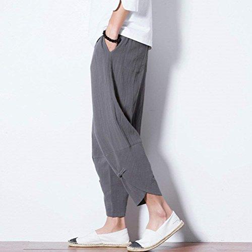 Solidi Elastica Chic nbsp; Vita Pantaloni Uomo Pantaloni Di Fashion Pluderhose Unisex Nero Pantaloni Colori Pantaloni Casuali Abbigliamento Harem Lanterna Lino Estivi Ragazza Accogliente Sciolto fwCqp