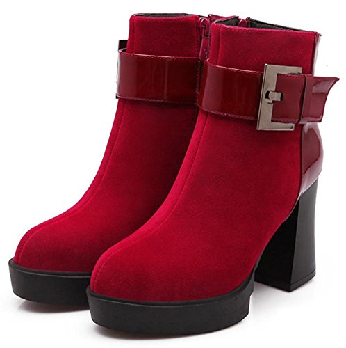 Toe Ankle Easemax Suede Trendy High Zip Boots Faux High Up Pointed Women's Heeled Side Chunky Red Bx7wBaq