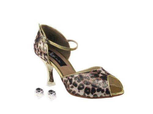 Very Fine Ladies Women Ballroom Dance Shoes EKCD3009 With 2.5 Heel Brown Leopard Zi7s0O7D