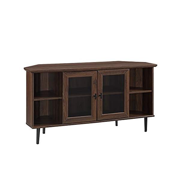 "Walker Edison Simple Corner Fireplace Stand with Open 52"" Flat Screen Universal TV Console Living Room Shelves Entertainment Center, Dark Walnut"