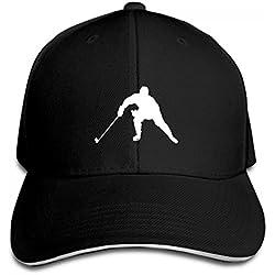 Ice Hockey Sandwich Baseball Cap Sports Snapback Hat Adjustable Side. (black)