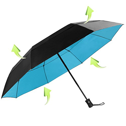 Koler-46-Inches-Large-Windproof-Auto-Open-Close-Double-Canopy-Folding-Travel-Umbrella-with-8-Ribs