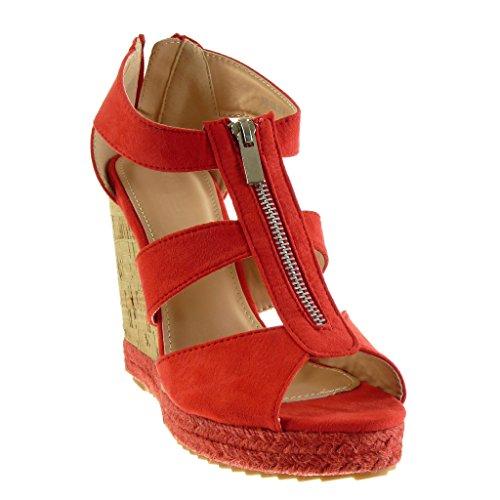Talón Cuerda Angkorly Tanga 11 Mujer Plataforma Sandalias Moda Plataforma Rojo Zapatillas cm Corcho Alpargatas xwwrqYznH