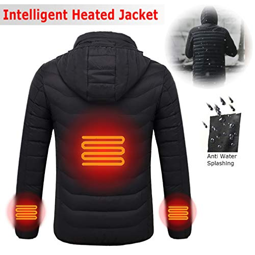 Mens USB Heated Warm Work Jacket Motorcycle Skiing Riding Snow Coat (L)