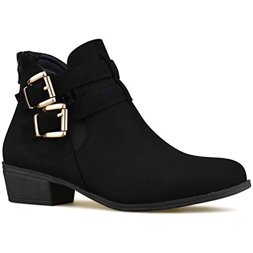 Premier Standard Women's Strappy Buckle Closed Toe Bootie - Low Heel Casual Comfortable Walking Boot Black C65*