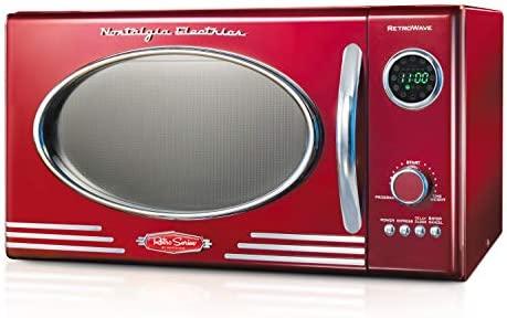 Nostalgia RMO4RR Retro Large 0.9 cu toes, 800-Watt Countertop Microwave Oven,12 Pre-Programmed Cooking Settings, Digital Clock, Easy Clean Interior, Metallic Red