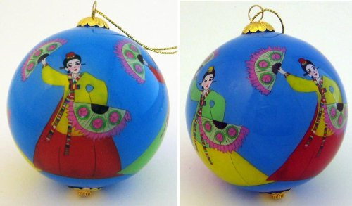 Roots & Wings Korean Fan Dancer Hand-Painted Glass Ball Ornament