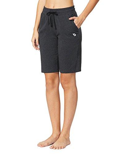 Baleaf Women's Active Yoga Lounge Bermuda Shorts With Pockets Charcoal Size (Walking Shorts)