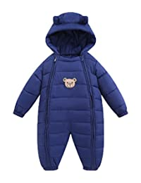 Baby Girls Boys One Piece Two Zippers Bear Winter Down Jacket Romper Jumpsuit