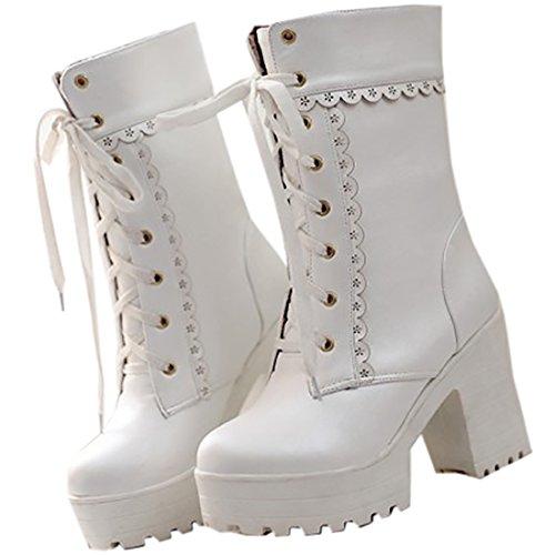Partiss Damen Sweet Lolita Shoes Suess Lace Boots High-top PU Stiefel Prinzessin College Winter Boots Cosplay Schlupfstiefel Lolita Schnuerstiefel Weiß