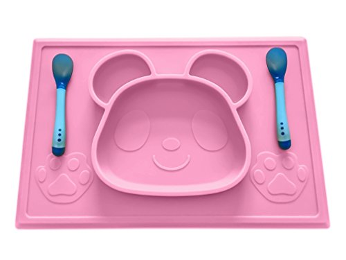Price comparison product image Mopels Children's Placemat with Free Spoon Set and E-Book,  One-Piece Silicone Placemat Panda Design,  Dinnerware for Feeding Baby & Baby Led Weaning,  Non-Slip,  Portable and FDA Approved. (Pink)