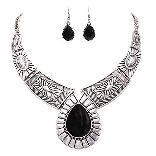 Rosemarie Collections Women's Southwest Teardrop Stone Statement Necklace Earrings Set - Chunky Necklace Vintage