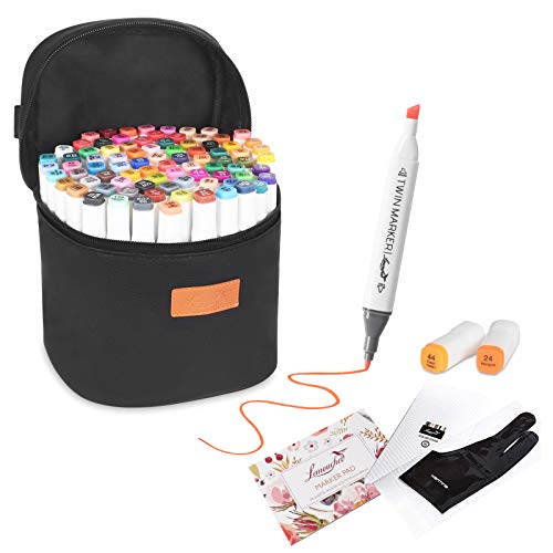 85 Colors Art Markers,L'émouchet Dual Tips Alcohol Markers with Carrying Case, Artist Glove, Sketch Book and Color Card, Drawing Markers for Coloring, Marking, Drawing and More